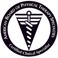 The seal of the American Board of Physical Therapy Specialties. Lisa Davison is a certified clinical specialist.  It