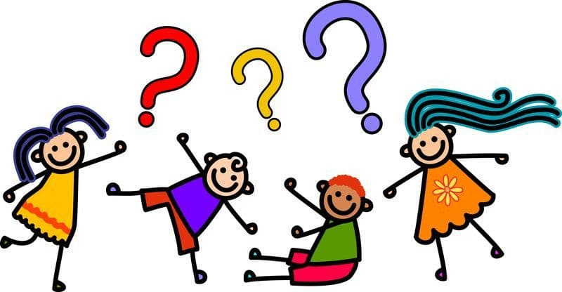 Cartoon of four children waiting to learn. Three multi color question marks appear over their heads.