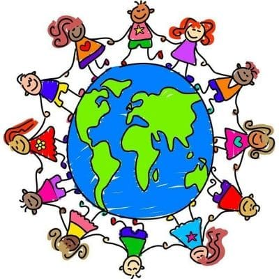 A cartoon of children circling the globe. They are smiling and holding hands.